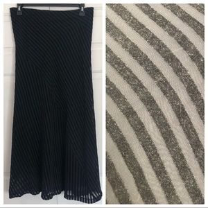 Anthropologie Odille black striped maxi skirt